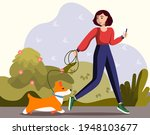 A Girl With A Dog Walks In The...