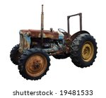 Rusty Vintage Tractor Isolated...