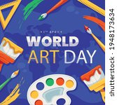 world art day with paint... | Shutterstock .eps vector #1948173634