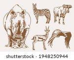 sepia set of wild animals... | Shutterstock .eps vector #1948250944