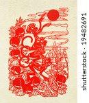 oriental paper cut mural   Shutterstock . vector #19482691