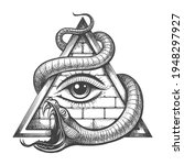 tattoo of all seeing eye in... | Shutterstock .eps vector #1948297927