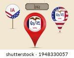Iowa Us State Round Flag. Map...