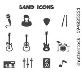 band icons, mono vector symbols