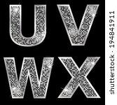 silver metallic shiny letters u ... | Shutterstock .eps vector #194841911