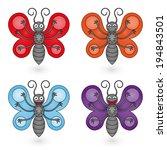 butterflies set on white... | Shutterstock .eps vector #194843501