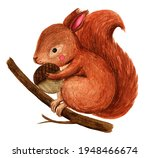Cute Little Squirrel With Acorn ...