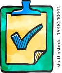 checklist icon in color drawing.... | Shutterstock .eps vector #1948510441