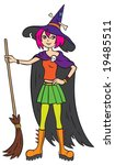young witch with the broom | Shutterstock . vector #19485511