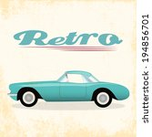 hipster retro car background ... | Shutterstock .eps vector #194856701