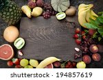 fresh fruit. fruit variety on... | Shutterstock . vector #194857619