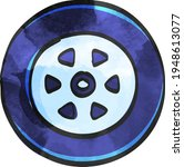 car tire icon in color drawing. ... | Shutterstock .eps vector #1948613077