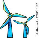 wind turbine icon in color... | Shutterstock .eps vector #1948613107