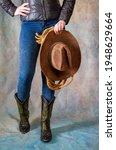 female legs in leather cowboy... | Shutterstock . vector #1948629664