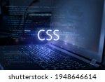 css inscription against laptop...