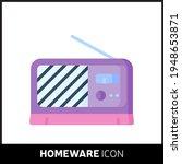 colorful cartoon radio icon on...