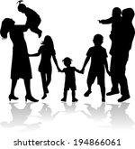 family silhouettes | Shutterstock .eps vector #194866061