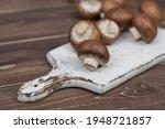Brown Champignon Mushrooms On A ...