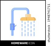 colorful cartoon shower icon on ...