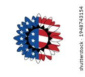 american flag sunflower ...   Shutterstock .eps vector #1948743154