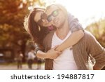 young couple have fun in sunny... | Shutterstock . vector #194887817