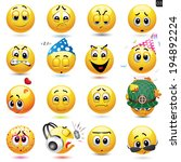 vector set of smiley icons with ... | Shutterstock .eps vector #194892224