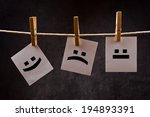 emoticons printed on note paper ... | Shutterstock . vector #194893391