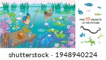 the boy is fishing. find 10... | Shutterstock .eps vector #1948940224