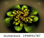 Abstract Fractal Image. Green...