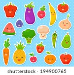 collection of cartoon fruit and ... | Shutterstock . vector #194900765