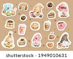 watercolor coffe gnome sticker  ... | Shutterstock .eps vector #1949010631