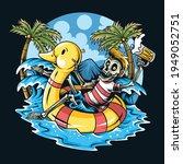 skull sitting on float duck... | Shutterstock .eps vector #1949052751