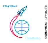 flying rocket over the globe... | Shutterstock .eps vector #194907341