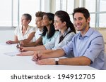 group of workers listening to... | Shutterstock . vector #194912705