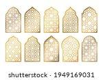 set of gold ornate arab windows ... | Shutterstock .eps vector #1949169031