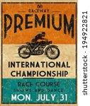 vintage motorbike race   hand... | Shutterstock .eps vector #194922821