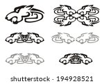 tribal wolf head and wolves... | Shutterstock .eps vector #194928521