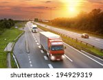red truck in the rush hour on... | Shutterstock . vector #194929319