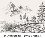 river in the mountains and pine ... | Shutterstock .eps vector #1949378584