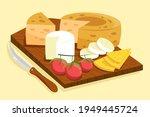 cheese set. gourmet composition ... | Shutterstock .eps vector #1949445724