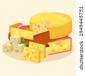 cheese set. gourmet composition ... | Shutterstock .eps vector #1949445751