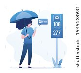cute girl stands at bus stop... | Shutterstock .eps vector #1949538931