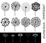 beautiful dandelions set vector | Shutterstock .eps vector #194956067