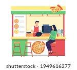 pizza vendor shop concept.... | Shutterstock .eps vector #1949616277