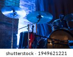 Drum Set On A Stage In Blue...