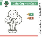 tree color by numbers. coloring ... | Shutterstock .eps vector #1949640397