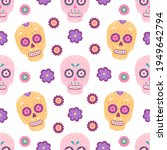 mexican traditional sugar skull ... | Shutterstock .eps vector #1949642794