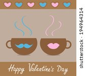 two teacups with mustache and...   Shutterstock . vector #194964314