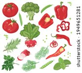 hand drawn vegetables. red and... | Shutterstock .eps vector #1949651281