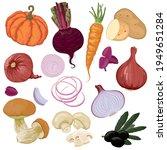 hand drawn vegetables. orange... | Shutterstock .eps vector #1949651284